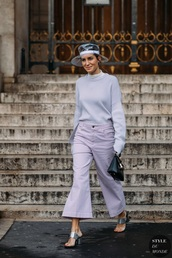 pants,lilac,lilac pants,sweater,lilac sweater,shoes,metallic,metallic shoes,silver shoes,silver,mules,streetstyle
