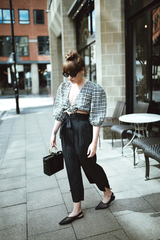 top black pants tumblr crop tops puffed sleeves tartan plaid pants cropped pants shoes slingbacks flats bag boxed bag sunglasses