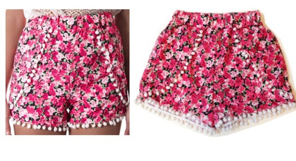 shorts pink flowered shorts floralshorts floral shorts with crop tops floral