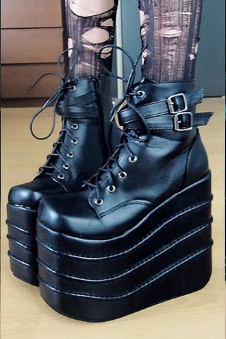 shoes boots ankle boots black goth tall buckles psychara matte black platform shoes platform lace up boots side entry zipper punk