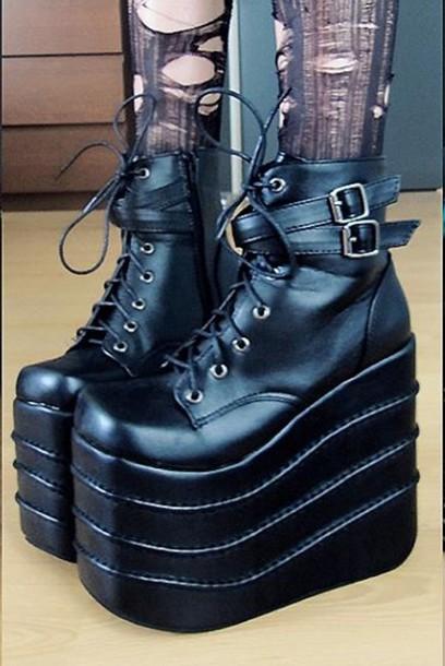 07953976196 shoes boots ankle boots black goth platform shoes tall buckles psychara  matte black platform shoes platform