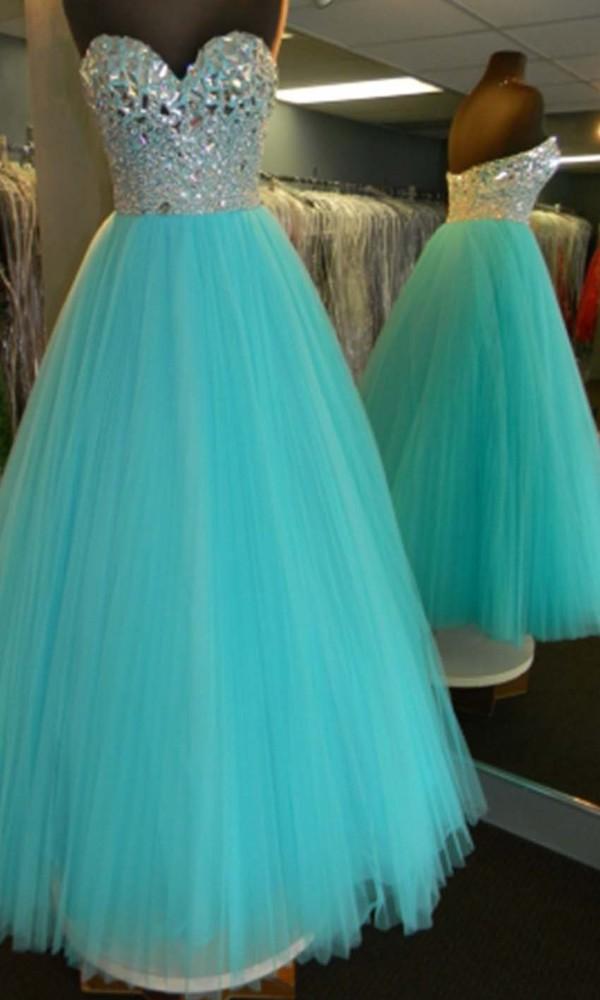 dress ball gown dress long prom dress rhinestones princess dress teal dress prom gown prom dress sweetheart dress sweet 16 dresses