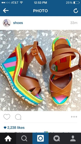 shoes rainbow shoes cute platforms brown wedges brown leather flatforms