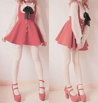 dress kawaii red skirt cute shoes blouse japan japanese japanese fashion korean fashion korean style harajuku