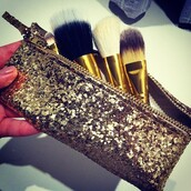 bag,glitter,gold,make-up,party make up,home accessory,makeup bag