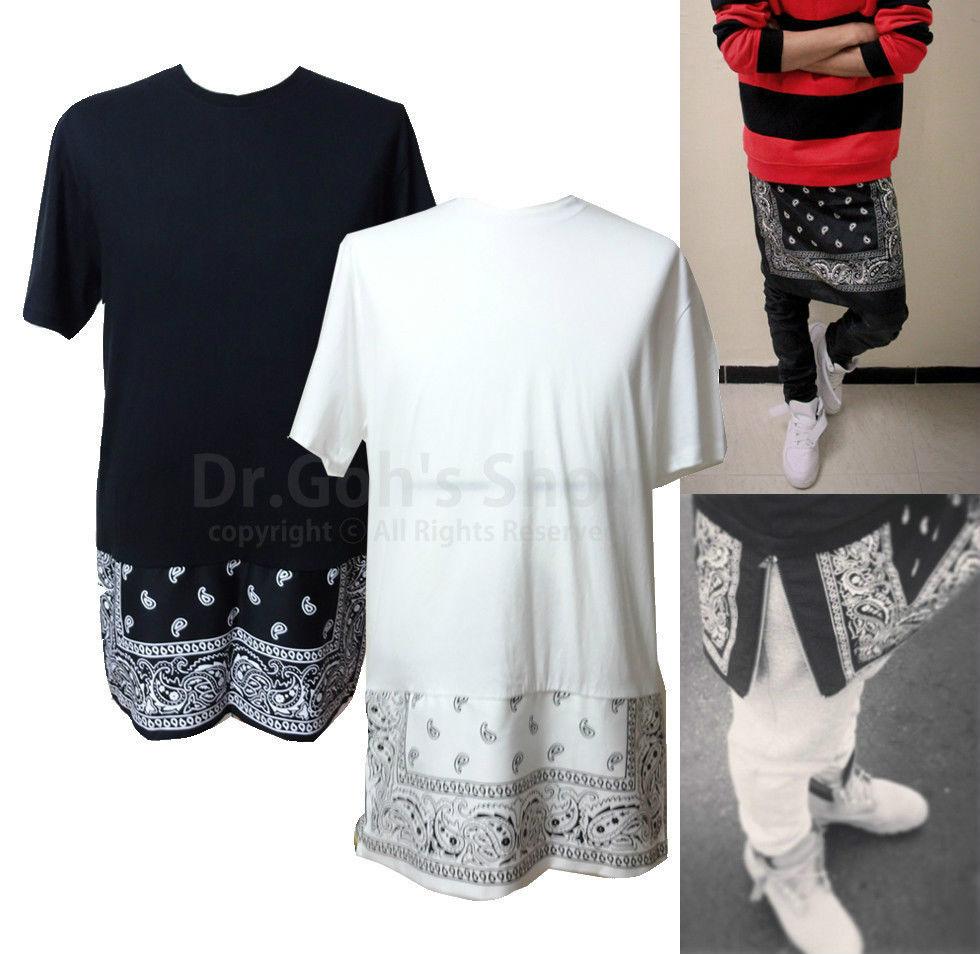 New Split Hem Extended Length Paisley Bandana Graphic T-Shirt Black White