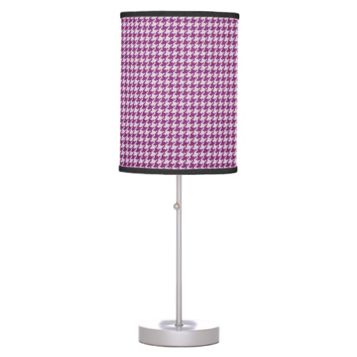 Orchid & White Knit Houndstooth Geometric Pattern Table Lamps