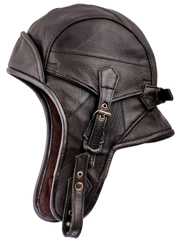 f6321a4785a Sterkowski Genuine Leather Men s 8 Aviator Helmet Trapper Cap at ...