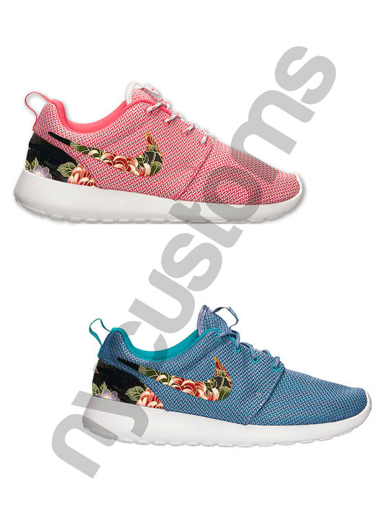 7eda48c75e1c Nike Roshe Run Pink or Iron Purple Japanese Floral by NYCustoms