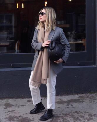 jacket tumblr blazer grey blazer scarf bag handbag black bag denim jeans white jeans boots black boots sunglasses