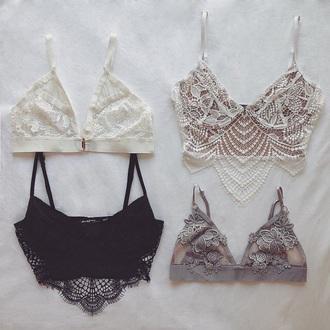 underwear bralette white lace bralette