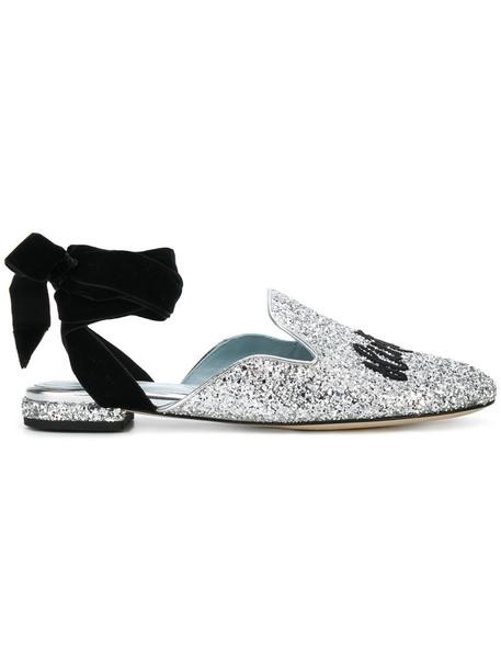 Chiara Ferragni women mules lace leather grey metallic shoes