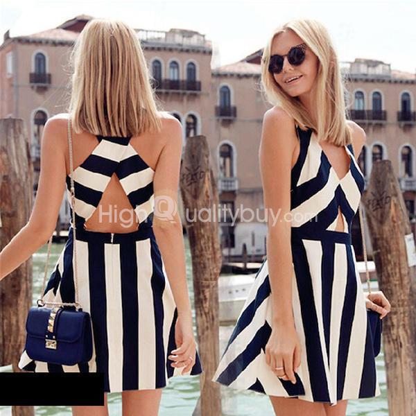 Sexy White and Black Stripe Splice Hollow Waist Dress For ...