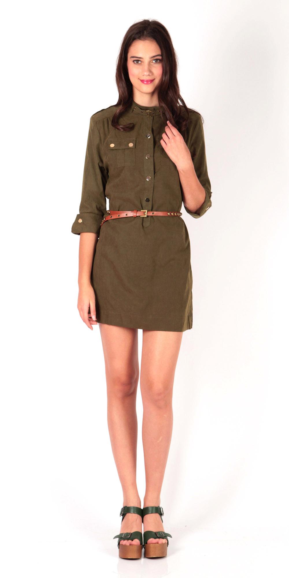 d7b14f8a119 Safari Shirt Dress w Belt (Army Green)