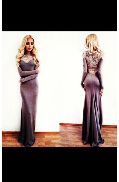 dress grey grey dress prom dress long sleeve long dress lace silky classy elegant sleeve