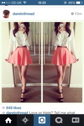 skirt,white,blouse,lace,pink,peach skirt,top,flowy