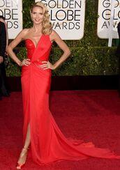 dress,heidi klum,red dress,Golden Globes 2015,versace
