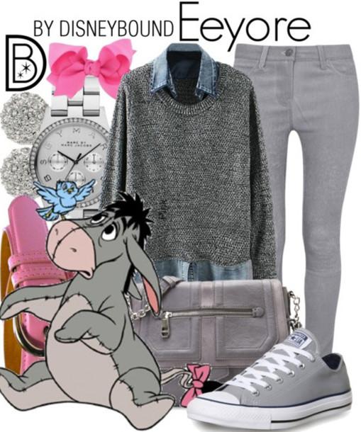 shirt jeans sweater grey sweater heather