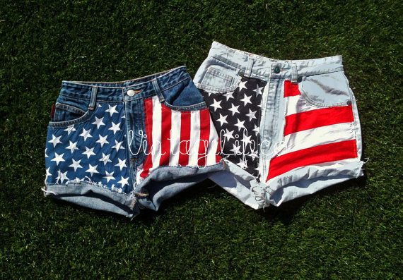 Vintage american flag jean shorts frayed high by vintagelifeco