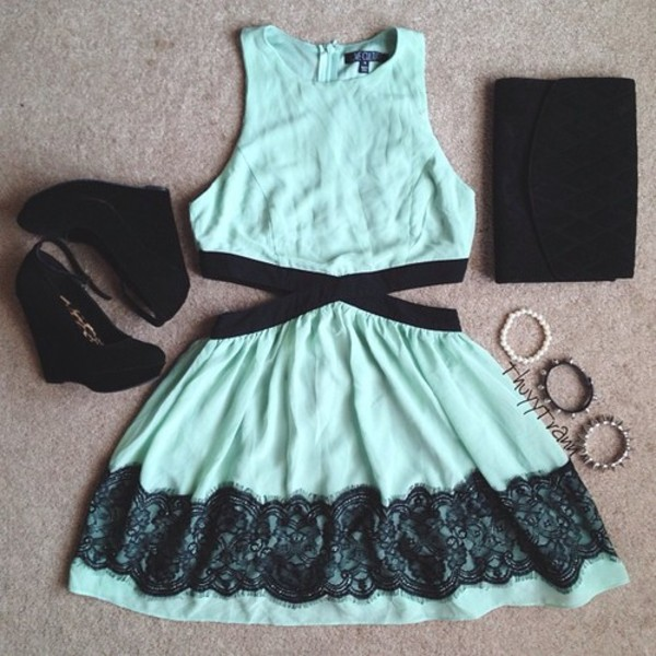dress shoes bag bracelets summer aqua prom dress blue dress lace dress black wedges black clutch cut-out dress clothes turquoise lace