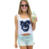 tank top,2016 new arrival,crop tops,cropped,white crop tops,tank top women,sexy top,tops crops for summer,sleeveless,sportswear,fitness tank,punk tops,blue terminator skull,cute crop top,plus size