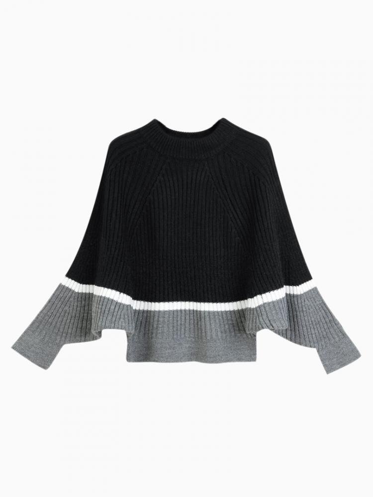 High Neck Contrast Jumper With Batwing Sleeves | Choies