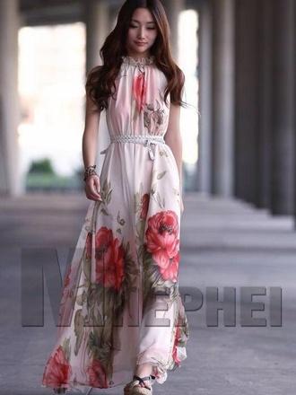 rose maxi chiffon long
