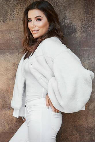 jacket fur faux fur white all white everything eva longoria