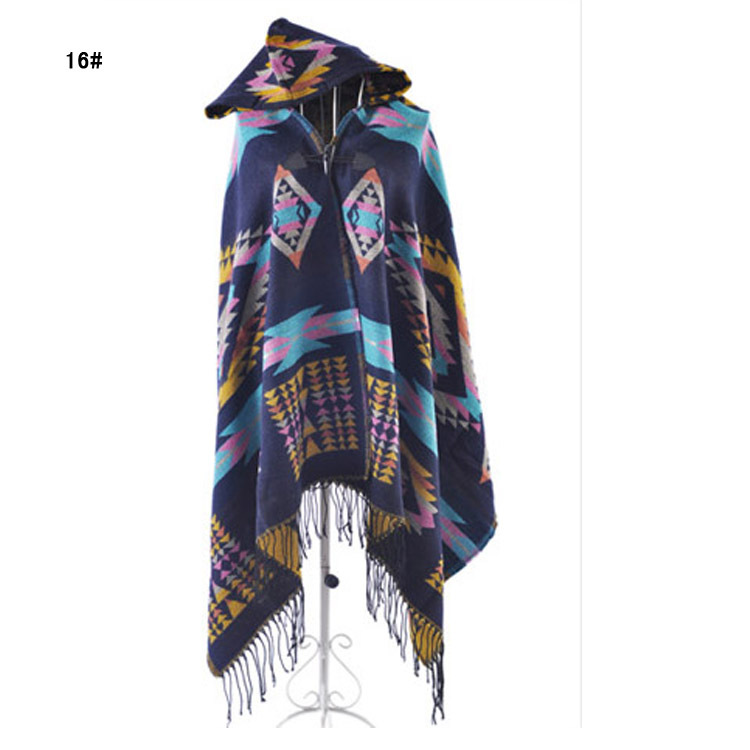 Free shipping via ems ladies  warm winter hooded wrap poncho wool blends lush cape mantle wholsale 10pcs/lot