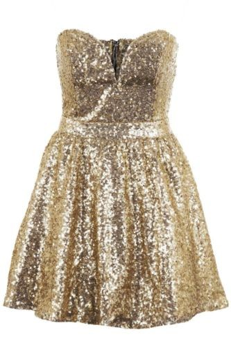 Ladies Black Gold Sequin Bandeau Boobtube Zip Back Party Womens Skater Dress- Gold - - Skater Dresses - Dresses - Women's Clothing | Fantasia Boutique