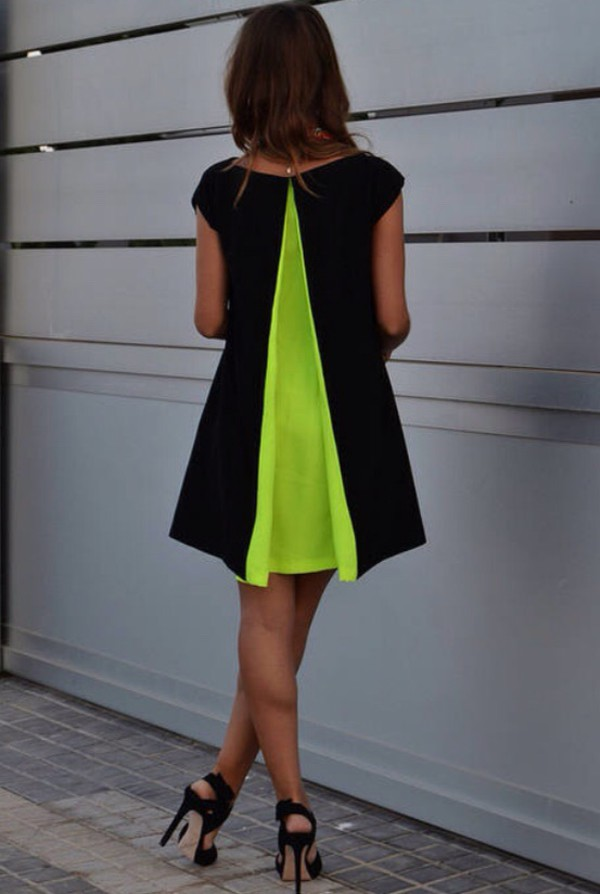 black neon dress mini dress black dress renata gigilo little black dress  back neon green pleat rents giglio black dress with neon green pleat in back neon dress green dress jewels jumpsuit yellow perfect beautiful yellow dress green color/pattern girly lime black with neon back panelll black neon dress colorful dress neon yellow cute dress