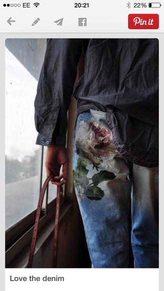 floral denim jeans petal rose worn wash away weathered