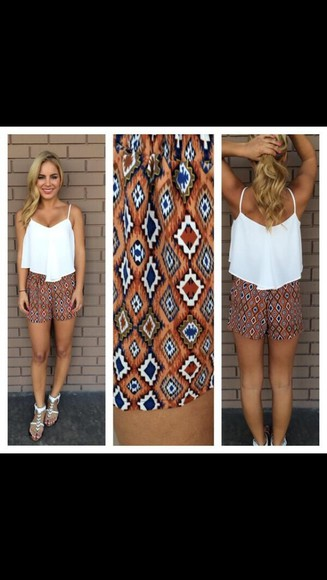 pattern shorts tank top crop highwaisted shorts