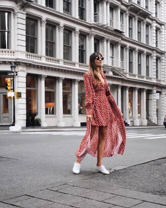 dress sunglasses tumblr maxi dress long dress red dress long sleeves long sleeve dress sneakers white sneakers