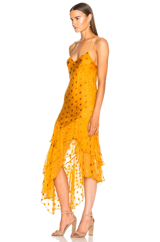 Michelle Mason Ruffle Cami Dress in Saffron | FWRD