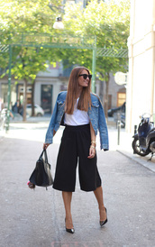 b a r t a b a c,blogger,jacket,t-shirt,bag,culottes