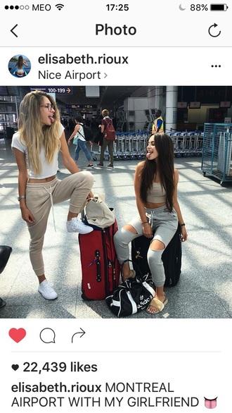 pants sweatpants jeans crop tops white shoes white shoes shorts skirt top shirt