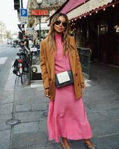 dress,long dress,pink dress,striped dress,high neck,mules,jacket,belt bag,aviator sunglasses
