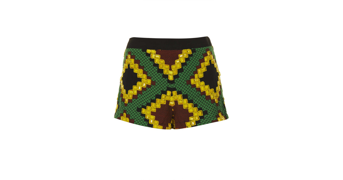 5221c8f3c9 TOPSHOP | Yellow Beaded African Print Shorts | Lyst