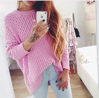 sweater pink sweater knitwear pink jumper pink sweater knit