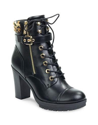 GUESS Women's Jaimey Heeled Combat Boots - Black - Size 7