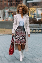 skirt,midi skirt,shirt,white shirt,boots,white boots,coat,ethnic,embroidered,embroidered skirt,trench coat