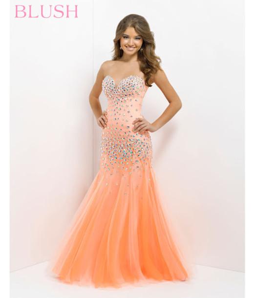 dress prom dress sweetheart neckline peach dress