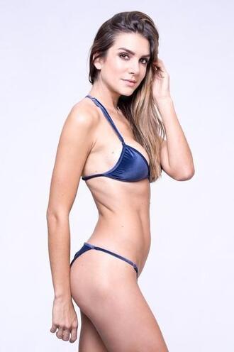 top velvet bikini top blue bralette dbrie reversible comforters triangle bikiniluxe