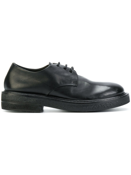 women lace leather black shoes