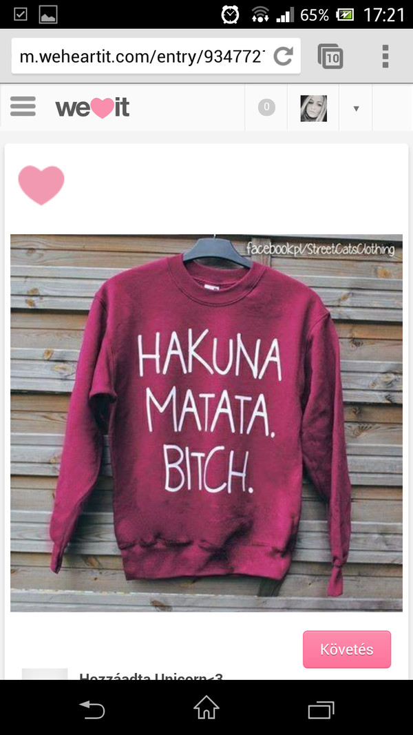 sweater hakuna matata bitch red pink pullover disney disney sweater t-shirt lionking