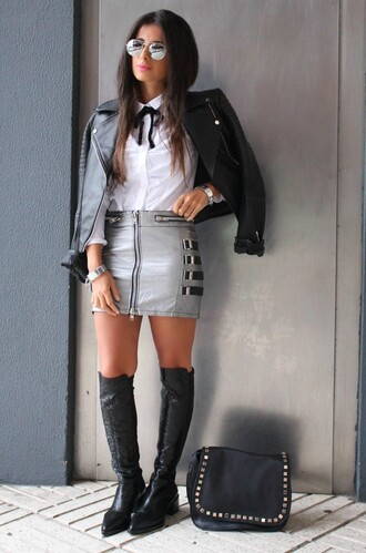 style by nelli blogger jewels jacket skirt bag shoes zipped skirt zip-up skirt mini skirt grey skirt white shirt black leather jacket leather jacket mirrored sunglasses sunglasses over the knee boots black boots winter boots flat boots black bag fall outfits