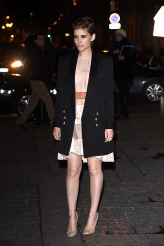 dress jacket blazer kate mara pumps streetstyle fashion week 2016 paris fashion week 2016 celebrity