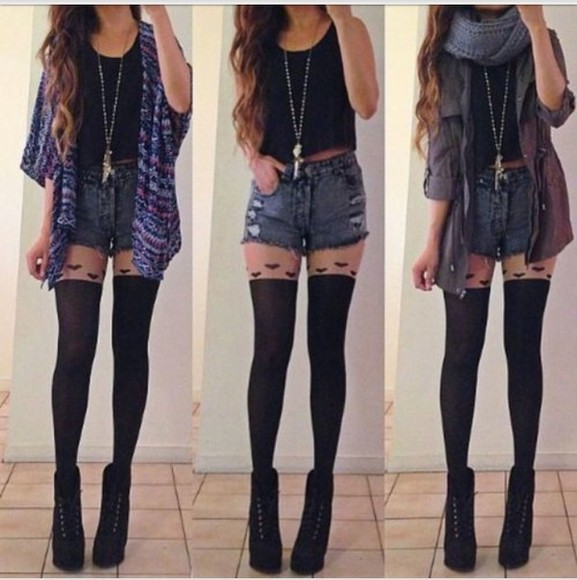 underwear black tank top shorts jewlery necklace knee high socks denim button up jean shorts