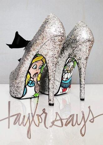 shoes alice in wonderland glitter shoes disney fairy tale high heel pumps silver shoes